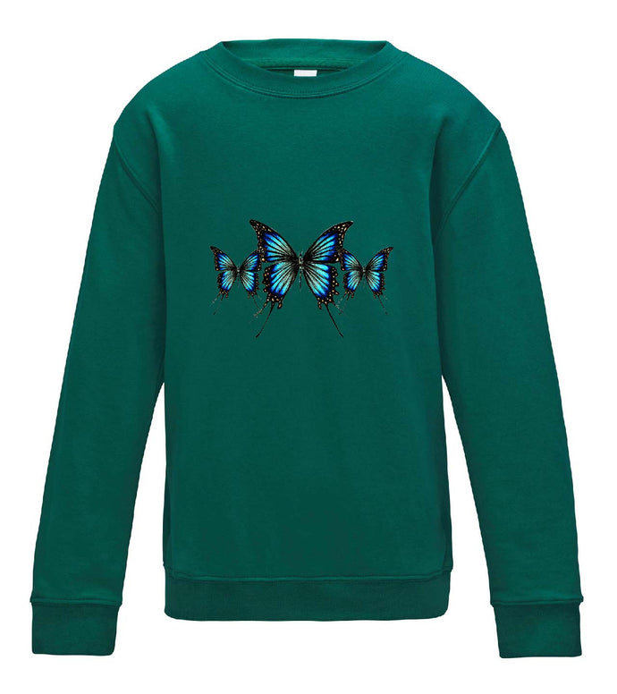 JanaRoos - T-shirts and Sweaters - Kid's Sweater - Packshot - Hand drawn illustration - Round neck - Long sleeves - Cotton - jade - appelblauw zeegroen- blue butterflies - vlinders