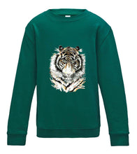 JanaRoos - T-shirts and Sweaters - Kid's Sweater - Packshot - Hand drawn illustration - Round neck - Long sleeves - Cotton - Jade - appelblauw zeegroen- African colored tiger - afrikaanse gekleurde tijger- tijger