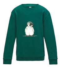 JanaRoos - T-shirts and Sweaters - Kid's Sweater - Packshot - Hand drawn illustration - Round neck - Long sleeves - Cotton - jade - appelblauw zeegroen - penguin - pinguin