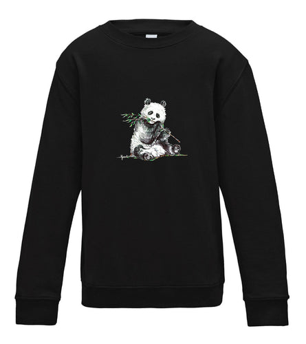 JanaRoos - T-shirts and Sweaters - Kid's Sweater - Packshot - Hand drawn illustration - Round neck - Long sleeves - Cotton - Jet Black - Zwart - Panda
