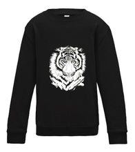 JanaRoos - T-shirts and Sweaters - Kid's Sweater - Packshot - Hand drawn illustration - Round neck - Long sleeves - Cotton - Jet Black - zwart - White tiger - witte tijger