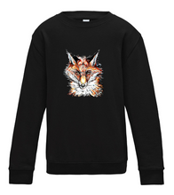 JanaRoos - T-shirts and Sweaters - Kid's Sweater - Packshot - Hand drawn illustration - Round neck - Long sleeves - Cotton - Jet black - Zwart - Fox - Vos