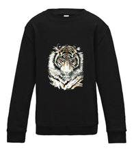 JanaRoos - T-shirts and Sweaters - Kid's Sweater - Packshot - Hand drawn illustration - Round neck - Long sleeves - Cotton - Jet black - zwart - Siberian tiger - Siberische tijger