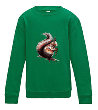 JanaRoos - T-shirts and Sweaters - Kid's Sweater - Packshot - Hand drawn illustration - Round neck - Long sleeves - Cotton - Kelly green - gras groen - squirrel - eekhoorn