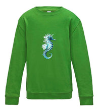 JanaRoos - T-shirts and Sweaters - Kid's Sweater - Packshot - Hand drawn illustration - Round neck - Long sleeves - Cotton - lime green - lemoen groen - sea horse - zeepaardje