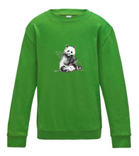 JanaRoos - T-shirts and Sweaters - Kid's Sweater - Packshot - Hand drawn illustration - Round neck - Long sleeves - Cotton - Lime Green - Groen - Panda