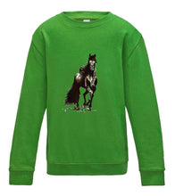 JanaRoos - T-shirts and Sweaters - Kid's Sweater - Packshot - Hand drawn illustration - Round neck - Long sleeves - Cotton - Lime green- licht groen- Black Merrie horse - paard