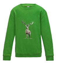 JanaRoos - T-shirts and Sweaters - Kid's Sweater - Packshot - Hand drawn illustration - Round neck - Long sleeves - Cotton - lime green - limoen groen - Reindeer - deer - hert - rendier