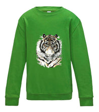 JanaRoos - T-shirts and Sweaters - Kid's Sweater - Packshot - Hand drawn illustration - Round neck - Long sleeves - Cotton -Lime green - licht groen- Siberian tiger - Siberische tijger