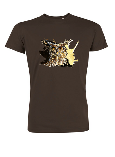 JanaRoos - T-shirts and Sweaters - Men T-shirt - Packshot - Hand drawn illustration - Round neck - short sleeves - Cotton - Chocolat brown - chocolade bruin - coffee owl - koffie uil