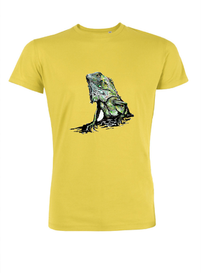 JanaRoos - T-shirts and Sweaters - Men T-shirt - Packshot - Hand drawn illustration - Round neck - short sleeves - Cotton - sun yellow - zon geel - iguana - igujana - gekko - agame - hagedis - salamander