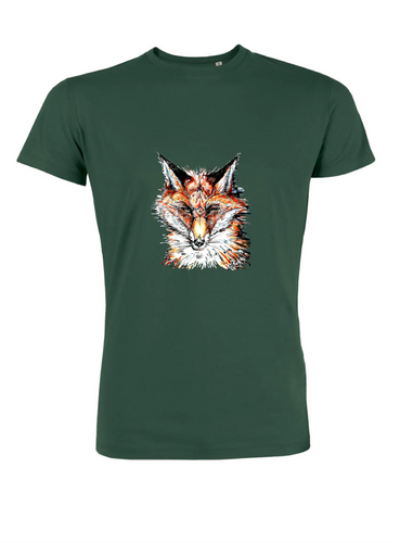 JanaRoos - T-shirts and Sweaters - Men T-shirt - Packshot - Hand drawn illustration - Round neck - short sleeves - Cotton  - bottle green - fles groen - fox - vos - mister fox -