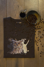 Men's t-shirt Coffee owl chocolate brown print design drawing organic cotton short sleeved round neck coffee beans barrista uil bruin