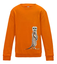 JanaRoos - T-shirts and Sweaters - Kid's Sweater - Packshot - Hand drawn illustration - Round neck - Long sleeves - Cotton - Oranje- orange - meerkat - stokstaartje