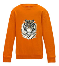 JanaRoos - T-shirts and Sweaters - Kid's Sweater - Packshot - Hand drawn illustration - Round neck - Long sleeves - Cotton - orange crush - oranje -Siberian tiger - Siberische tijger