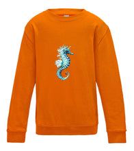 JanaRoos - T-shirts and Sweaters - Kid's Sweater - Packshot - Hand drawn illustration - Round neck - Long sleeves - Cotton - orange crush - oranje  - sea horse - zeepaardje