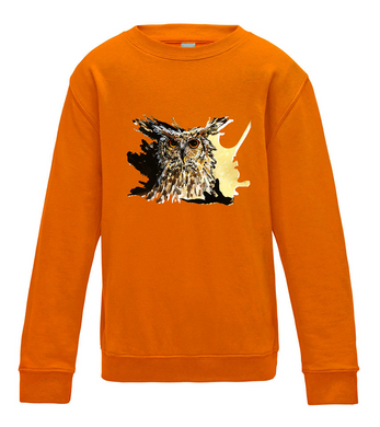JanaRoos - T-shirts and Sweaters - Kid's Sweater - Packshot - Hand drawn illustration - Round neck - Long sleeves - Cotton - Orange crush - Oranje - Coffee owl - Uil