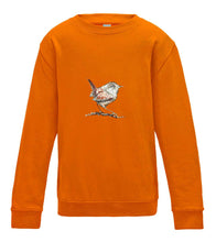 JanaRoos - T-shirts and Sweaters - Kid's Sweater - Packshot - Hand drawn illustration - Round neck - Long sleeves - Cotton - orange - oranje - wren- winterkoninkje