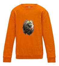 JanaRoos - T-shirts and Sweaters - Kid's Sweater - Packshot - Hand drawn illustration - Round neck - Long sleeves - Cotton - orange - oranje - lion tamarin monkey - leeuwaapje