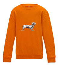 JanaRoos - T-shirts and Sweaters - Kid's Sweater - Packshot - Hand drawn illustration - Round neck - Long sleeves - Cotton - orange - oranje - teckel dog - dachshund - hond