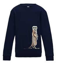 JanaRoos - T-shirts and Sweaters - Kid's Sweater - Packshot - Hand drawn illustration - Round neck - Long sleeves - Cotton - Donker Blauw- Oxford Blue - meerkat - stokstaartje