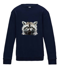 JanaRoos - T-shirts and Sweaters - Kid's Sweater - Packshot - Hand drawn illustration - Round neck - Long sleeves - Cotton - oxford navy - donker navy blauw - raccoon - wasbeer - wasbeertje