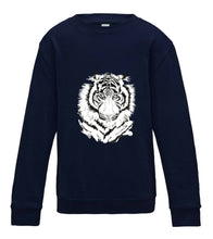 JanaRoos - T-shirts and Sweaters - Kid's Sweater - Packshot - Hand drawn illustration - Round neck - Long sleeves - Cotton - Oxford Navy blue - donker blauw - White tiger - witte tijger