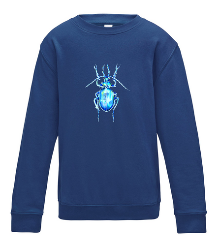 JanaRoos - T-shirts and Sweaters - Kid's Sweater - Packshot - Hand drawn illustration - Round neck - Long sleeves - Cotton - Royal blue - Blauw - Beetle - Kever