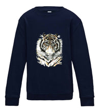 JanaRoos - T-shirts and Sweaters - Kid's Sweater - Packshot - Hand drawn illustration - Round neck - Long sleeves - Cotton - Oxford navy blue - marine blauw - Siberian tiger - Siberische tijger