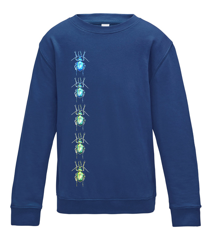 JanaRoos - T-shirts and Sweaters - Kid's Sweater - Packshot - Hand drawn illustration - Round neck - Long sleeves - Cotton - Oxford Navy - Blauw - Beetles - Kevers