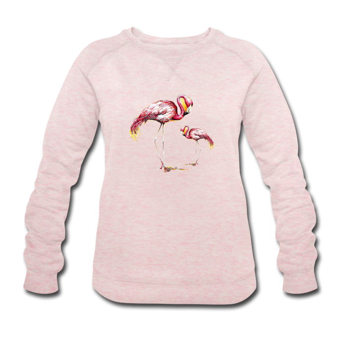 JanaRoos - T-shirts and Sweaters - Sweater - Packshot - Hand drawn illustration - Round neck - Long sleeves - Cotton - Pink - Roze - Flamingo - Flamingo's