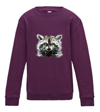 JanaRoos - T-shirts and Sweaters - Kid's Sweater - Packshot - Hand drawn illustration - Round neck - Long sleeves - Cotton - plum purple - paars - raccoon - wasbeer - wasbeertje