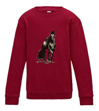 JanaRoos - T-shirts and Sweaters - Kid's Sweater - Packshot - Hand drawn illustration - Round neck - Long sleeves - Cotton - red hot chilli - donker rood - Black Merrie horse - paard