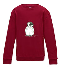 JanaRoos - T-shirts and Sweaters - Kid's Sweater - Packshot - Hand drawn illustration - Round neck - Long sleeves - Cotton - red hot chilli - donker rood - penguin - pinguin