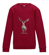 JanaRoos - T-shirts and Sweaters - Kid's Sweater - Packshot - Hand drawn illustration - Round neck - Long sleeves - Cotton - red hot chilli - diep rood - Reindeer - deer - hert - rendier