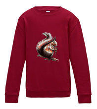 JanaRoos - T-shirts and Sweaters - Kid's Sweater - Packshot - Hand drawn illustration - Round neck - Long sleeves - Cotton - red hot chille - hot chilli rood - squirrel - eekhoorn