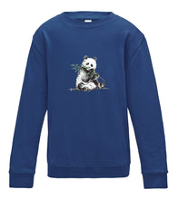 JanaRoos - T-shirts and Sweaters - Kid's Sweater - Packshot - Hand drawn illustration - Round neck - Long sleeves - Cotton - Royal blue - Blauw - Panda