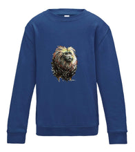 JanaRoos - T-shirts and Sweaters - Kid's Sweater - Packshot - Hand drawn illustration - Round neck - Long sleeves - Cotton - Royal blue - Blauw - lion tamarin monkey - leeuwaapje
