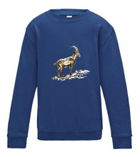 JanaRoos - T-shirts and Sweaters - Kid's Sweater - Packshot - Hand drawn illustration - Round neck - Long sleeves - Cotton - Royal blue - royaal blauw- gems - mountain goat - berggeit