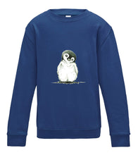 JanaRoos - T-shirts and Sweaters - Kid's Sweater - Packshot - Hand drawn illustration - Round neck - Long sleeves - Cotton - royal blue - royaal blauw - penguin - pinguin