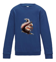 JanaRoos - T-shirts and Sweaters - Kid's Sweater - Packshot - Hand drawn illustration - Round neck - Long sleeves - Cotton - Royal blue - fel donker blauw - squirrel - eekhoorn