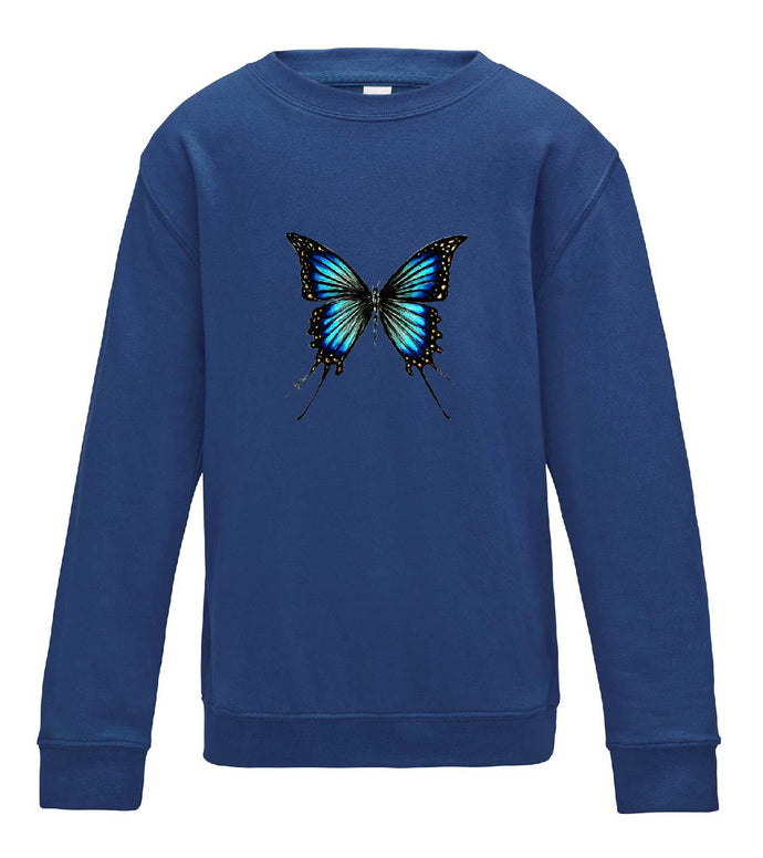 JanaRoos - T-shirts and Sweaters - Kid's Sweater - Packshot - Hand drawn illustration - Round neck - Long sleeves - Cotton - Royal blue - blue butterfly - vlinder