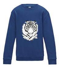 JanaRoos - T-shirts and Sweaters - Kid's Sweater - Packshot - Hand drawn illustration - Round neck - Long sleeves - Cotton - Rayol blue - royaal blauw - White tiger - witte tijger