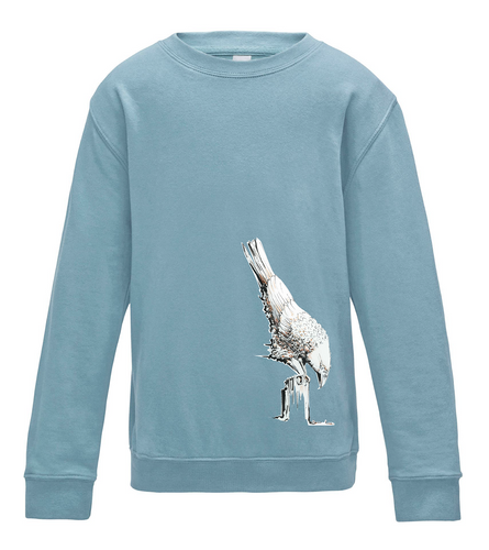 JanaRoos - T-shirts and Sweaters - Kid's Sweater - Packshot - Hand drawn illustration - Round neck - Long sleeves - Cotton - Lichtblauw - Blue - White raven - Witte raaf