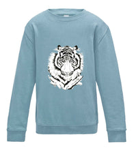 JanaRoos - T-shirts and Sweaters - Kid's Sweater - Packshot - Hand drawn illustration - Round neck - Long sleeves - Cotton - Sky blue - hemels blauw - White tiger - witte tijger