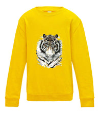 JanaRoos - T-shirts and Sweaters - Kid's Sweater - Packshot - Hand drawn illustration - Round neck - Long sleeves - Cotton - Sun yellow - geel - Siberian tiger - Siberische tijger