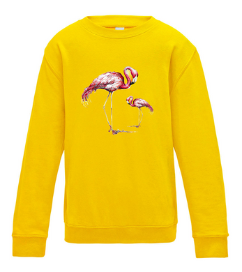 JanaRoos - T-shirts and Sweaters - Kid's Sweater - Packshot - Hand drawn illustration - Round neck - Long sleeves - Cotton - Sun Yellow - Geel - Flamingo