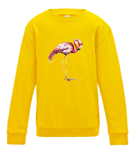 JanaRoos - T-shirts and Sweaters - Kid's Sweater - Packshot - Hand drawn illustration - Round neck - Long sleeves - Cotton - Yellow - Geel - Flamingo