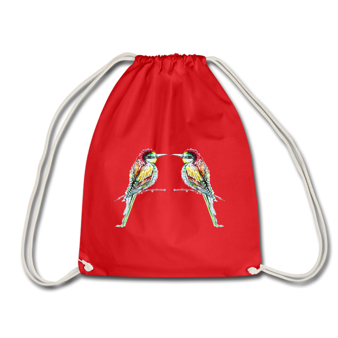 JanaRoos - Accessoires - Drawstring bag - bag - Packshot - Hand drawn illustration - Cotton - fire red - rood - colorful birds - kleurrijke vogels - kingfisher - ijsvogel
