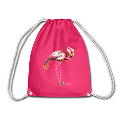 JanaRoos - Accessoires - Drawstring bag - bag - Packshot - Hand drawn illustration - Cotton - Pink - Roze - Flamingo